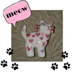 White Pink Ceramic Cat Kitten Animal Brooch Pin